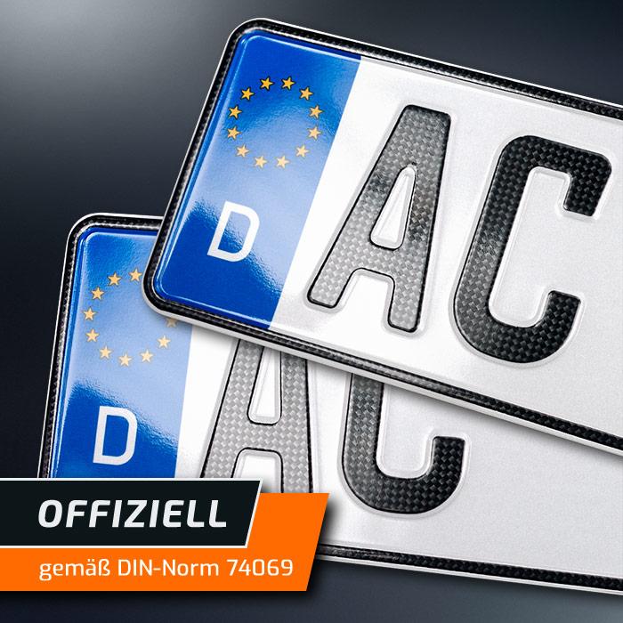 DHL 2x CARBON Kfz Kennzeichen460x110mmOFFIZIELL amtliche Nummernschilder