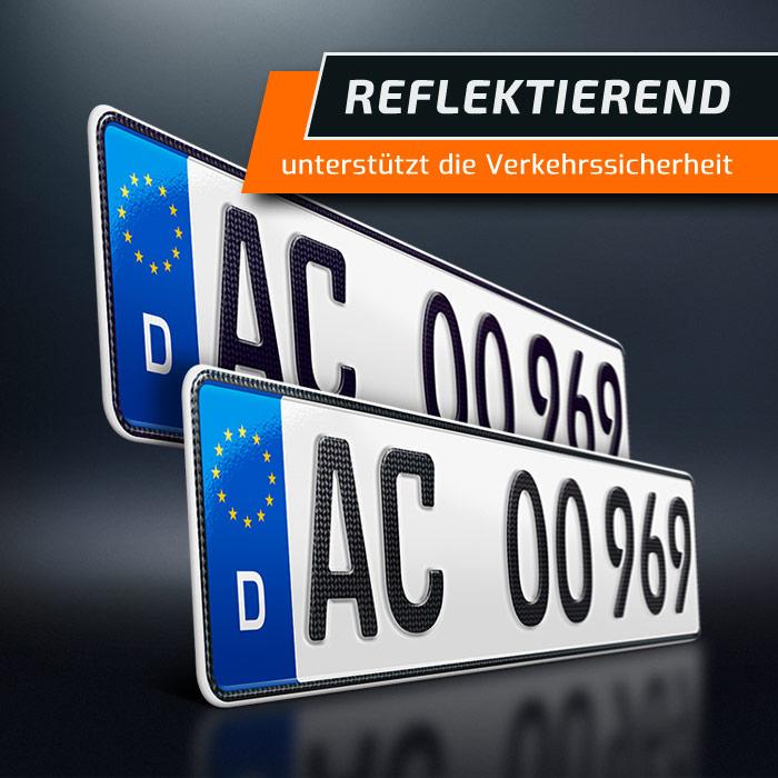Nummernschildhalter Kfz Kennzeichenhalterung Carbon Hydrografik PKW schildEVO 2 Kennzeichenhalter 520 x 110 mm
