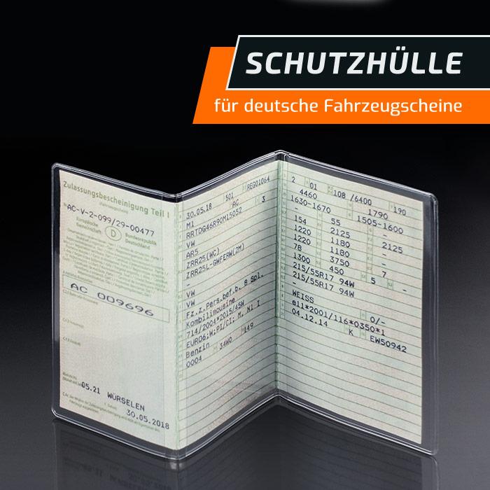 KFZ Fahrzeugschein Hülle 3-teilig Schutzhülle Etui Transparent Durchsichtig